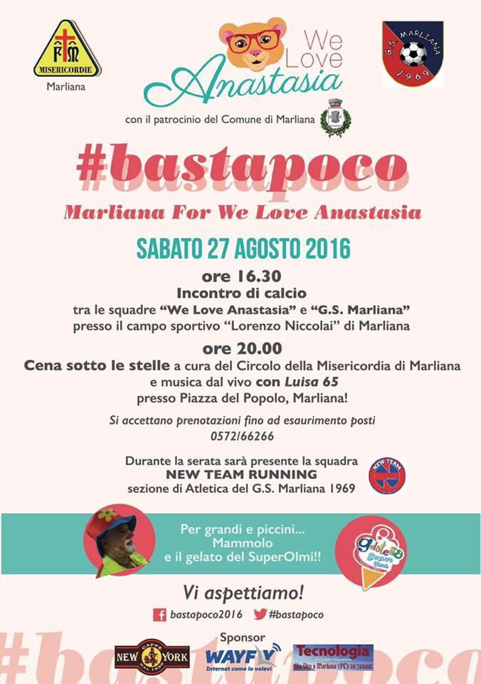 92f835dca7702b A Marliana va in scena la solidarietà: sabato 27 agosto #bastapoco a ...